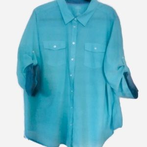 Women's Solid Light Blue Shirt By ST.JOHNS BAY 3XL
